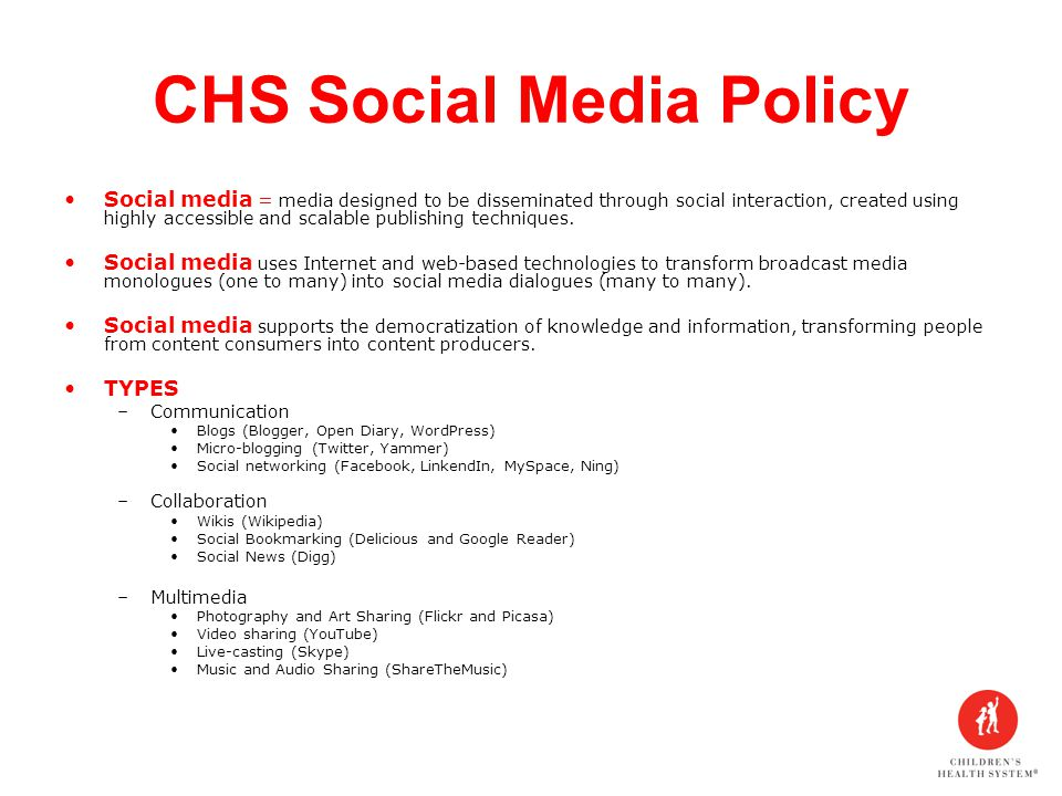 CHS Social Media Policy Social media = media designed to be disseminated through social interaction, created using highly accessible and scalable publishing techniques.