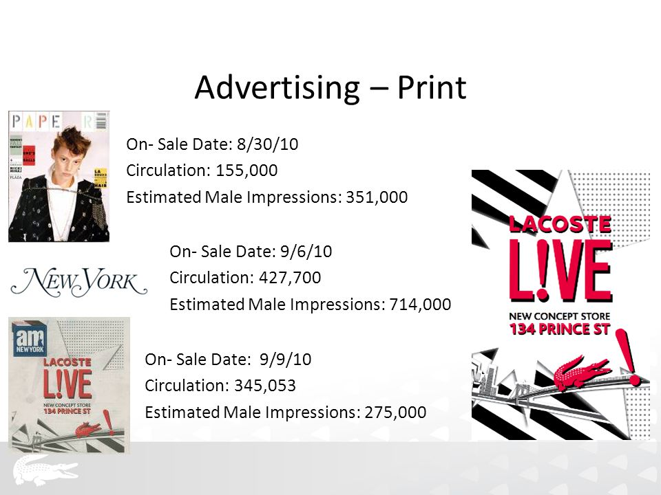 Advertising – Print On- Sale Date: 8/30/10 Circulation: 155,000 Estimated Male Impressions: 351,000 On- Sale Date: 9/6/10 Circulation: 427,700 Estimated Male Impressions: 714,000 On- Sale Date: 9/9/10 Circulation: 345,053 Estimated Male Impressions: 275,000