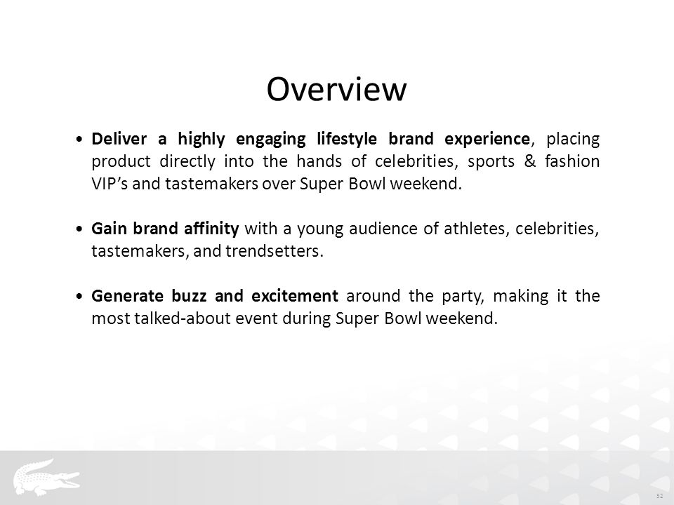 Deliver a highly engaging lifestyle brand experience, placing product directly into the hands of celebrities, sports & fashion VIP's and tastemakers over Super Bowl weekend.