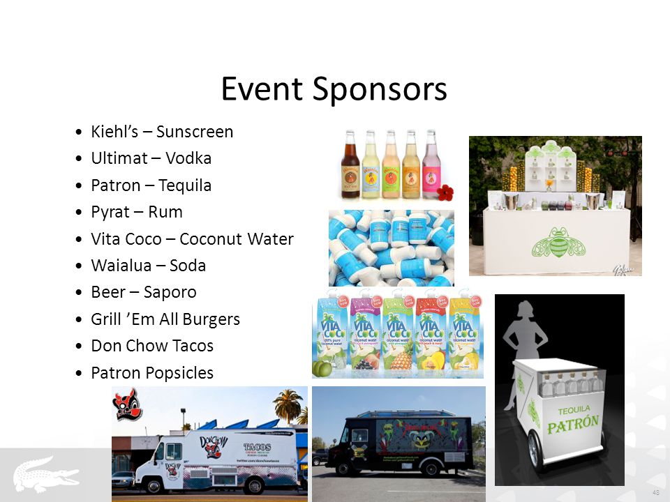 Event Sponsors Kiehl's – Sunscreen Ultimat – Vodka Patron – Tequila Pyrat – Rum Vita Coco – Coconut Water Waialua – Soda Beer – Saporo Grill 'Em All Burgers Don Chow Tacos Patron Popsicles 48