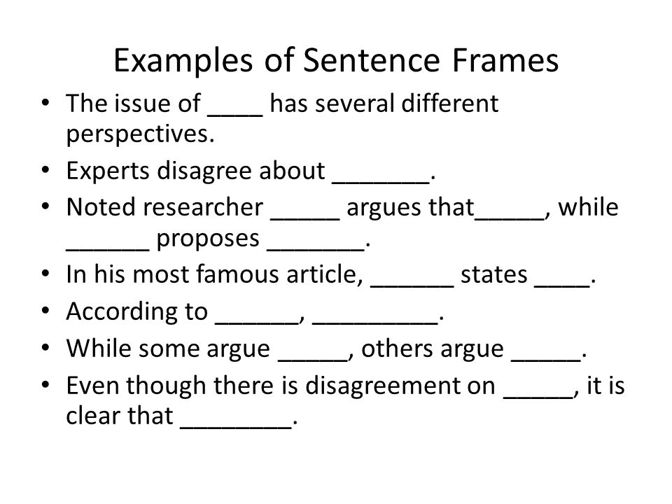 Examples of Sentence Frames The issue of ____ has several different perspectives.
