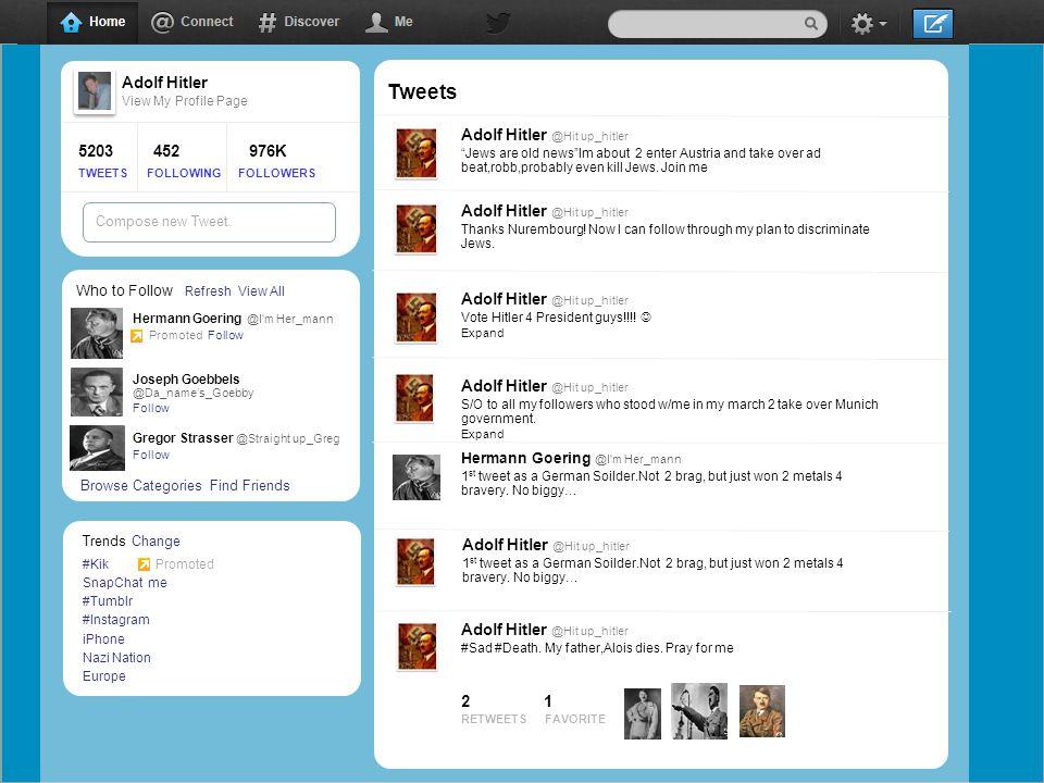 facebook Adolf Hitler Eet View My Profile Page 5203 452 976K TWEETS FOLLOWING FOLLOWERS WallPhotosFlairBoxesJohn F.