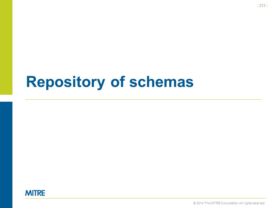 © 2014 The MITRE Corporation. All rights reserved.   213   Repository of schemas