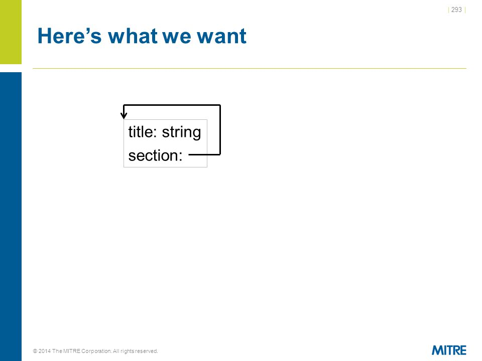 | 293 | © 2014 The MITRE Corporation. All rights reserved. Here's what we want title: string section: