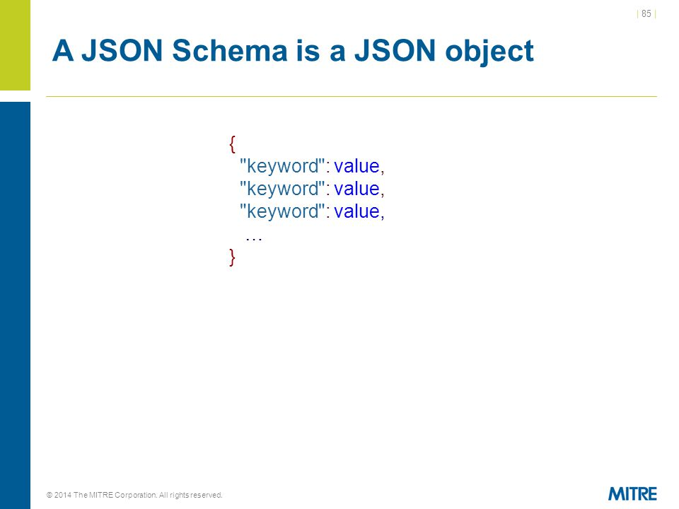 | 85 | © 2014 The MITRE Corporation. All rights reserved. A JSON Schema is a JSON object {