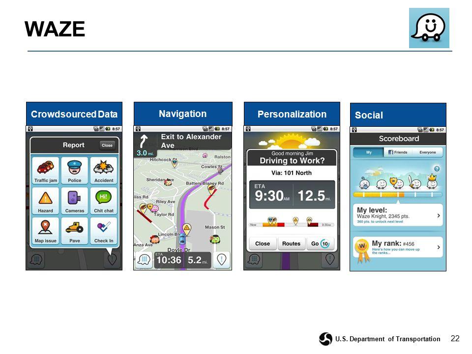 22 U.S. Department of Transportation WAZE Navigation PersonalizationCrowdsourced Data Social