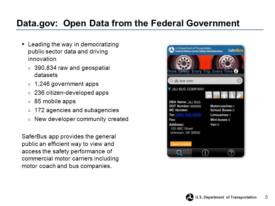 5 U.S. Department of Transportation Data.gov: Open Data from the Federal Government  Leading the way in democratizing public sector data and driving