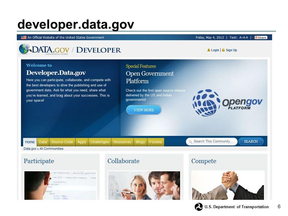 6 U.S. Department of Transportation developer.data.gov
