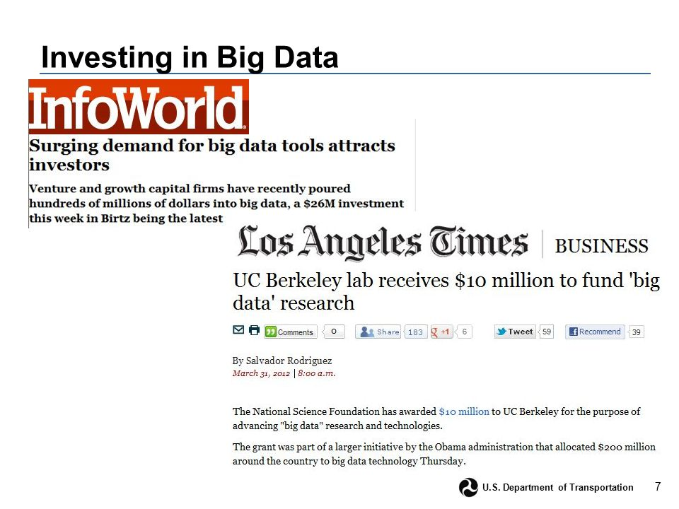 7 U.S. Department of Transportation Investing in Big Data