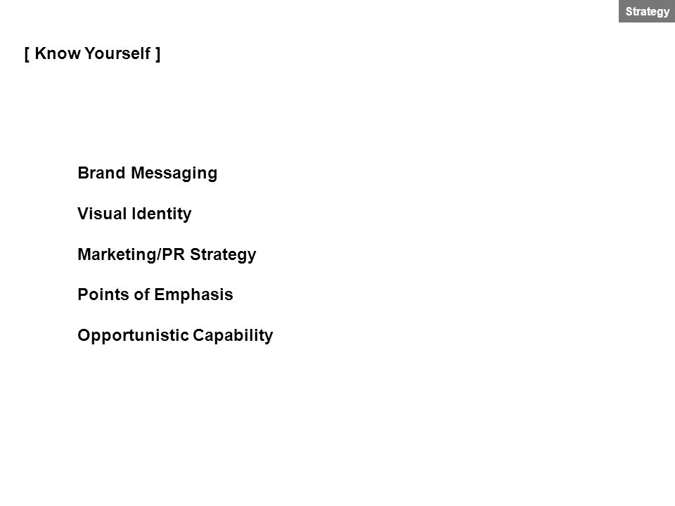 [ Know Yourself ] Brand Messaging Visual Identity Marketing/PR Strategy Points of Emphasis Opportunistic Capability
