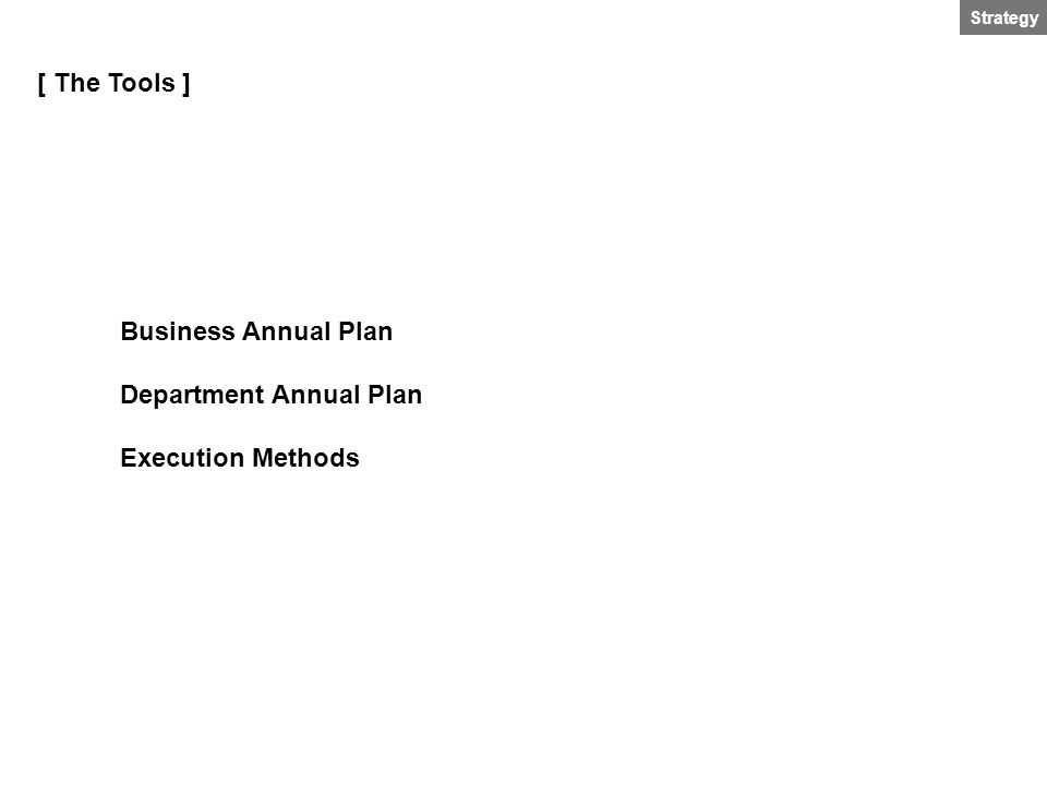 Strategy [ The Tools ] Business Annual Plan Department Annual Plan Execution Methods
