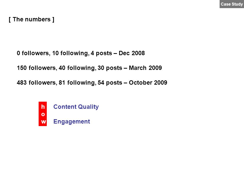 0 followers, 10 following, 4 posts – Dec 2008 150 followers, 40 following, 30 posts – March 2009 483 followers, 81 following, 54 posts – October 2009 [ The numbers ] Content Quality Engagement howhow