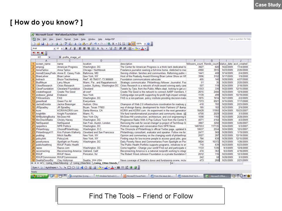 Case Study [ How do you know? ] Find The Tools – Friend or Follow