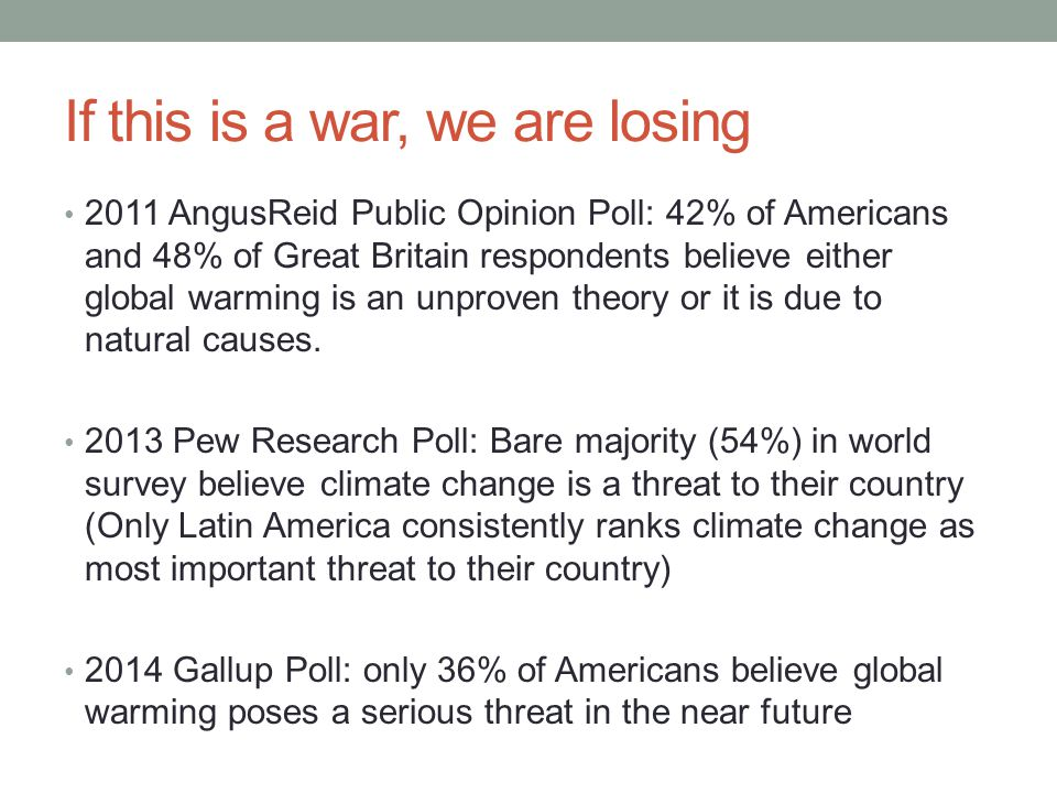 If this is a war, we are losing 2011 AngusReid Public Opinion Poll: 42% of Americans and 48% of Great Britain respondents believe either global warming is an unproven theory or it is due to natural causes.