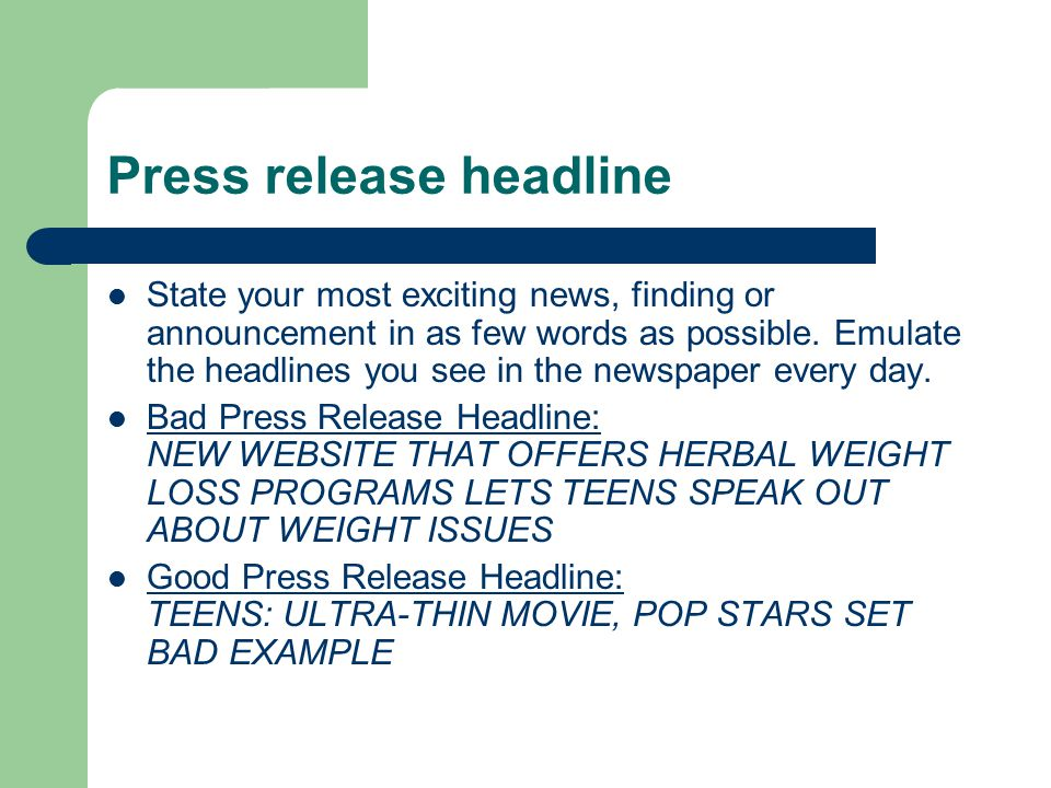 The Subhead Subheads are useful, yet usually overlooked by press release writers.
