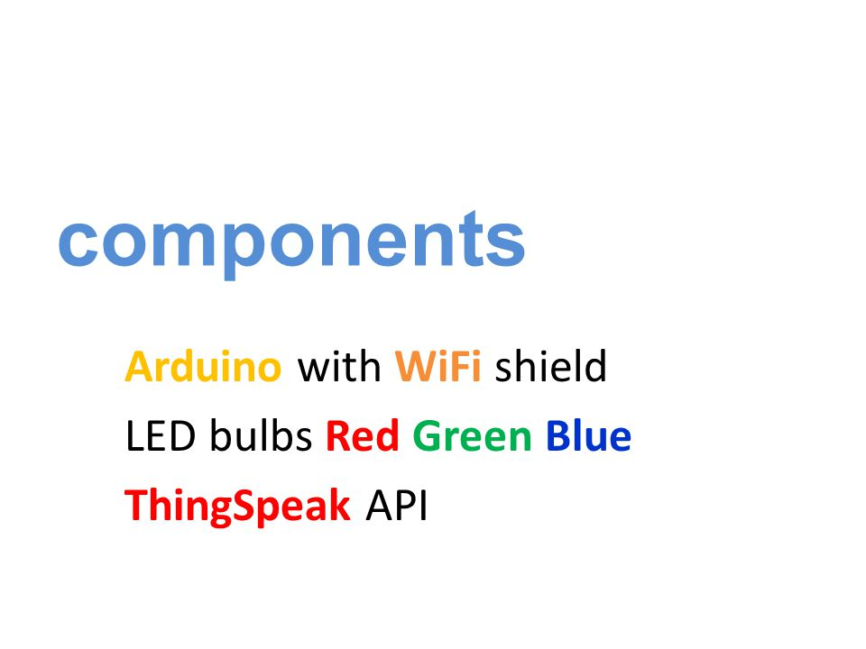 components Arduino with WiFi shield LED bulbs Red Green Blue ThingSpeak API