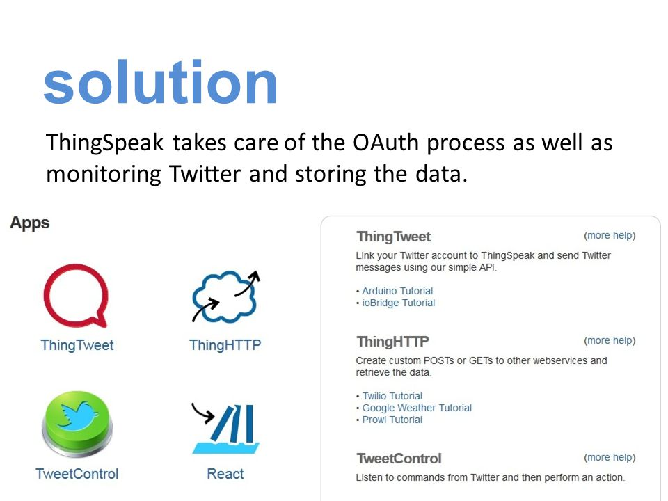solution ThingSpeak takes care of the OAuth process as well as monitoring Twitter and storing the data.