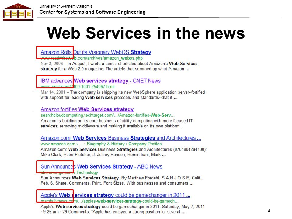University of Southern California Center for Systems and Software Engineering Web Services in the news 4