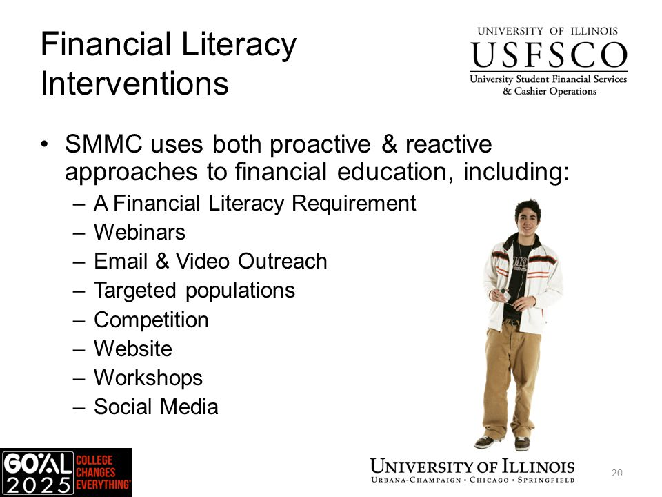 Financial Literacy Interventions SMMC uses both proactive & reactive approaches to financial education, including: –A Financial Literacy Requirement –Webinars –Email & Video Outreach –Targeted populations –Competition –Website –Workshops –Social Media 20