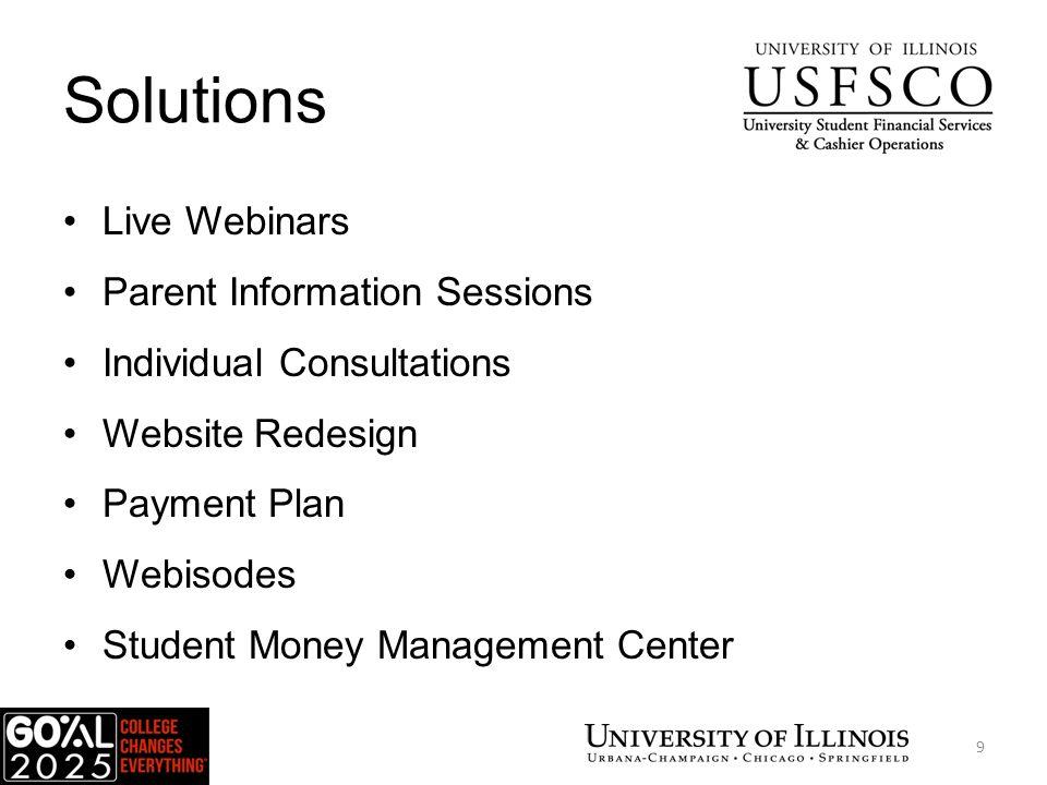 Solutions Live Webinars Parent Information Sessions Individual Consultations Website Redesign Payment Plan Webisodes Student Money Management Center USFSCO 9