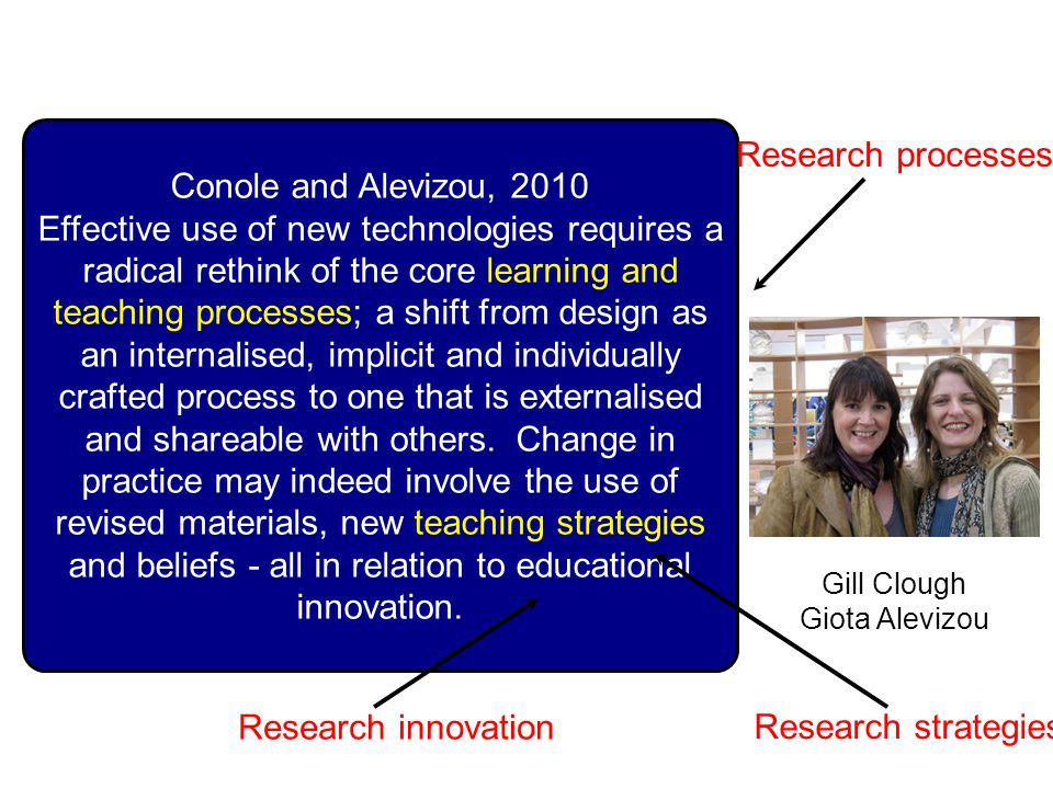 Conole and Alevizou, 2010 Effective use of new technologies requires a radical rethink of the core learning and teaching processes; a shift from design as an internalised, implicit and individually crafted process to one that is externalised and shareable with others.