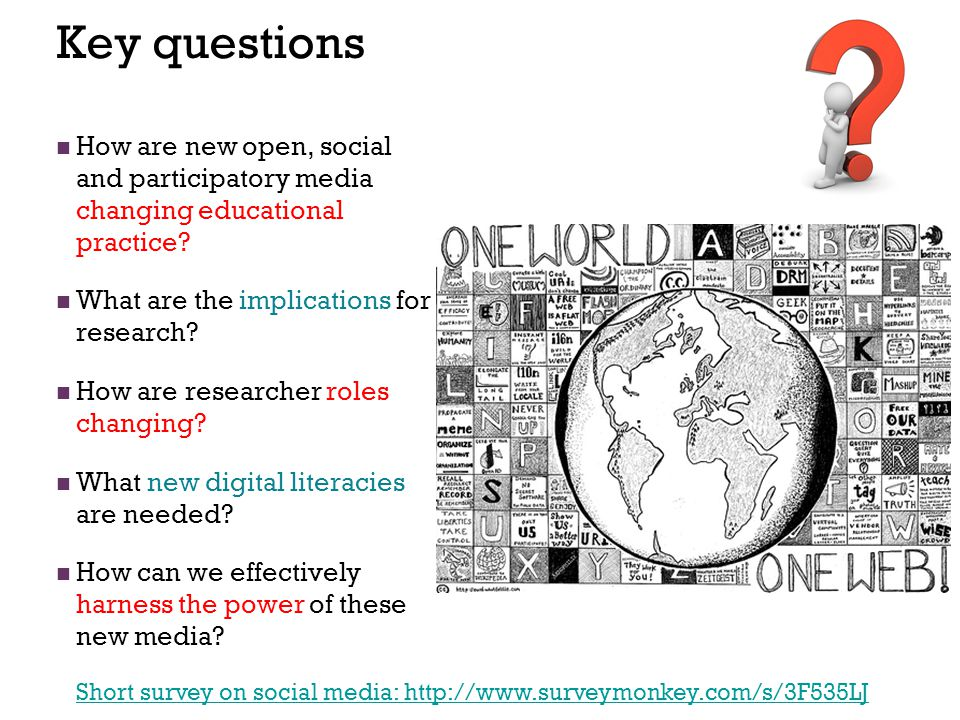 Key questions How are new open, social and participatory media changing educational practice? What are the implications for research? How are research