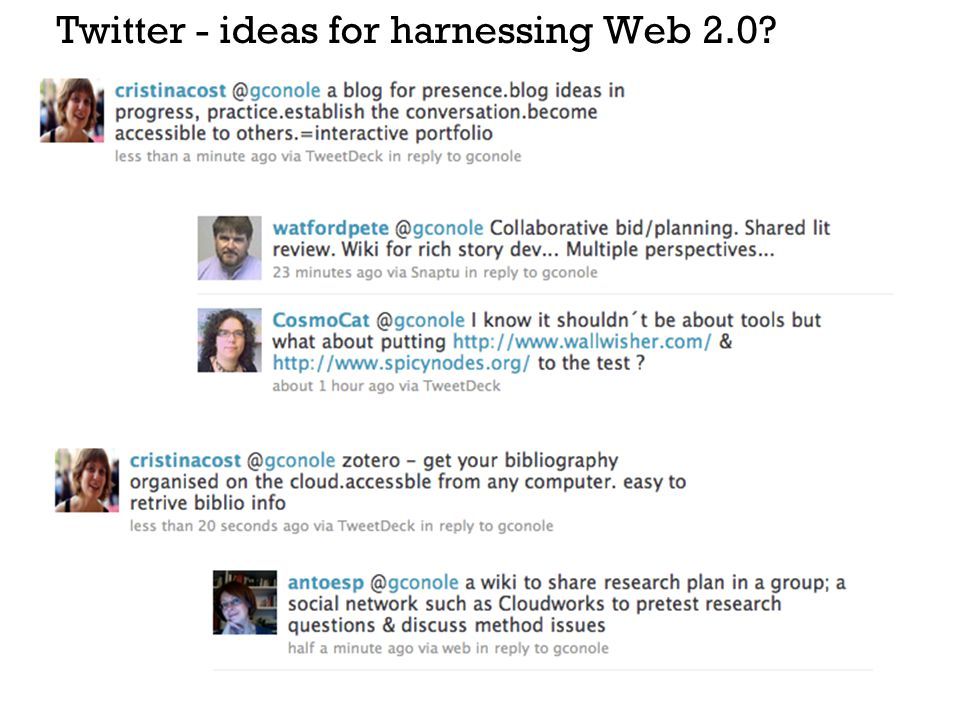 Twitter - ideas for harnessing Web 2.0