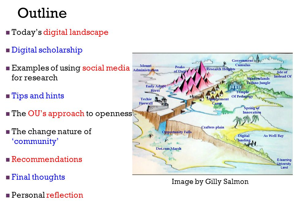 Outline Today's digital landscape Digital scholarship Examples of using social media for research Tips and hints The OU's approach to openness The change nature of 'community' Recommendations Final thoughts Personal reflection Image by Gilly Salmon