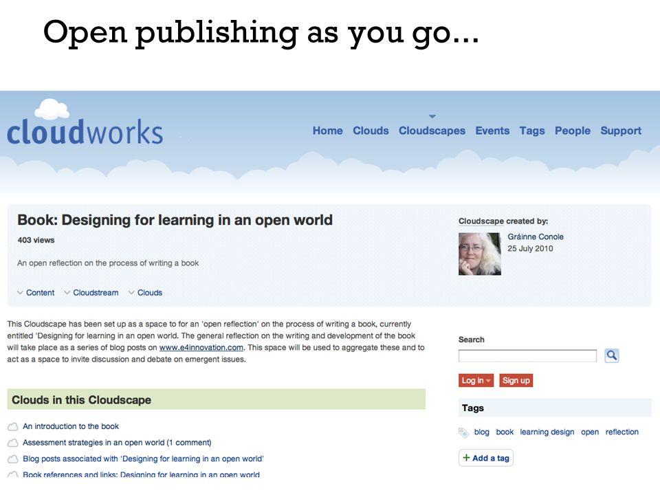Open publishing as you go...