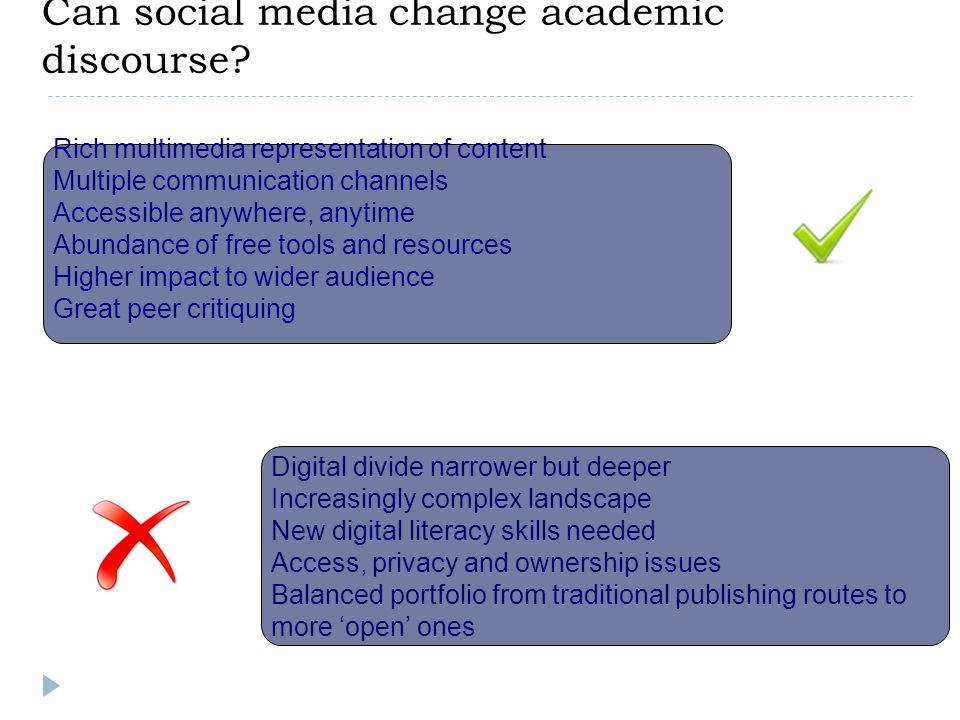 Can social media change academic discourse? Rich multimedia representation of content Multiple communication channels Accessible anywhere, anytime Abu