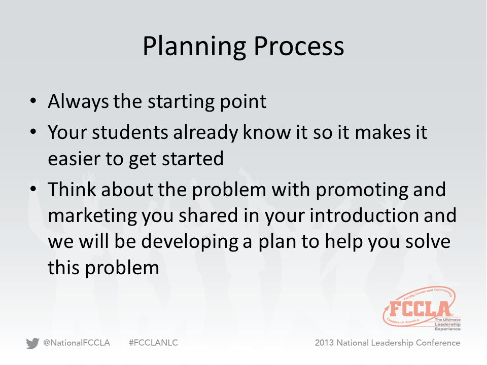 Planning Process Always the starting point Your students already know it so it makes it easier to get started Think about the problem with promoting a