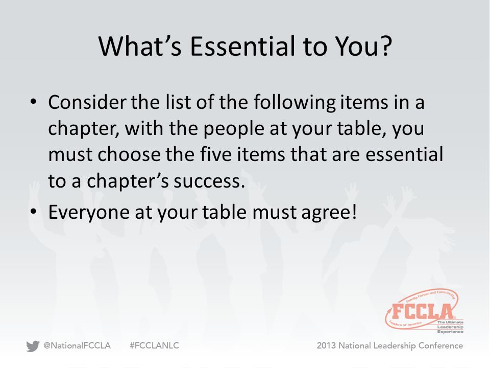 What's Essential to You? Consider the list of the following items in a chapter, with the people at your table, you must choose the five items that are