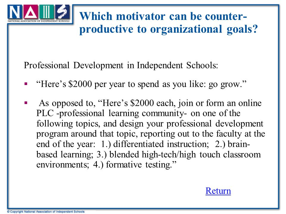 Which motivator can be counter- productive to organizational goals.