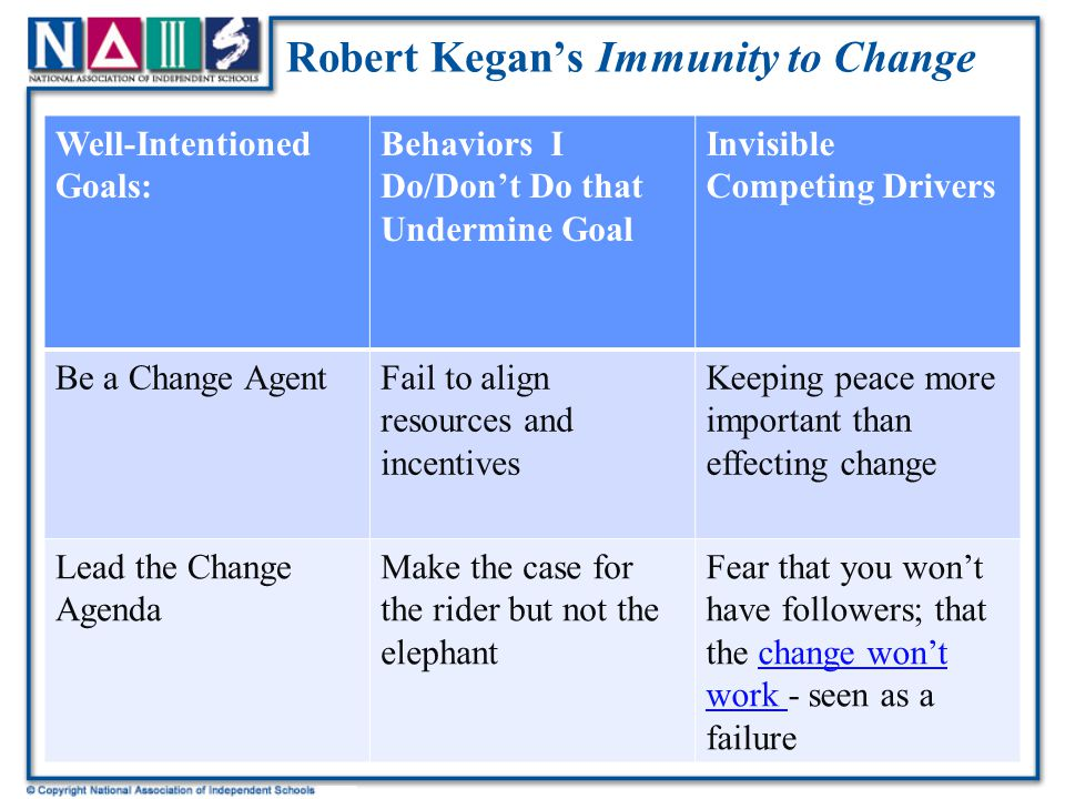Robert Kegan's Immunity to Change Well-Intentioned Goals: Behaviors I Do/Don't Do that Undermine Goal Invisible Competing Drivers Be a Change AgentFail to align resources and incentives Keeping peace more important than effecting change Lead the Change Agenda Make the case for the rider but not the elephant Fear that you won't have followers; that the change won't work - seen as a failurechange won't work