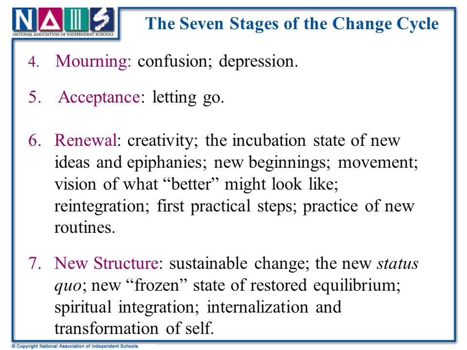 The Seven Stages of the Change Cycle 4. Mourning: confusion; depression.