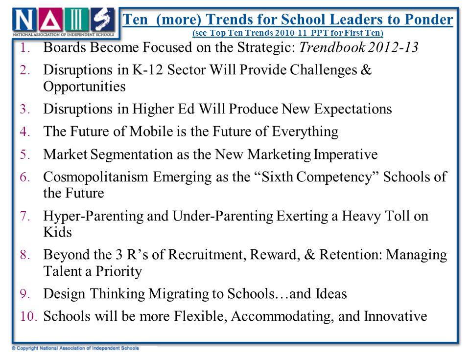 Ten (more) Trends for School Leaders to Ponder (see Top Ten Trends 2010-11 PPT for First Ten) 1.