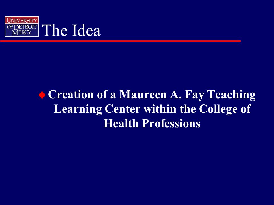 The Idea u Creation of a Maureen A. Fay Teaching Learning Center within the College of Health Professions