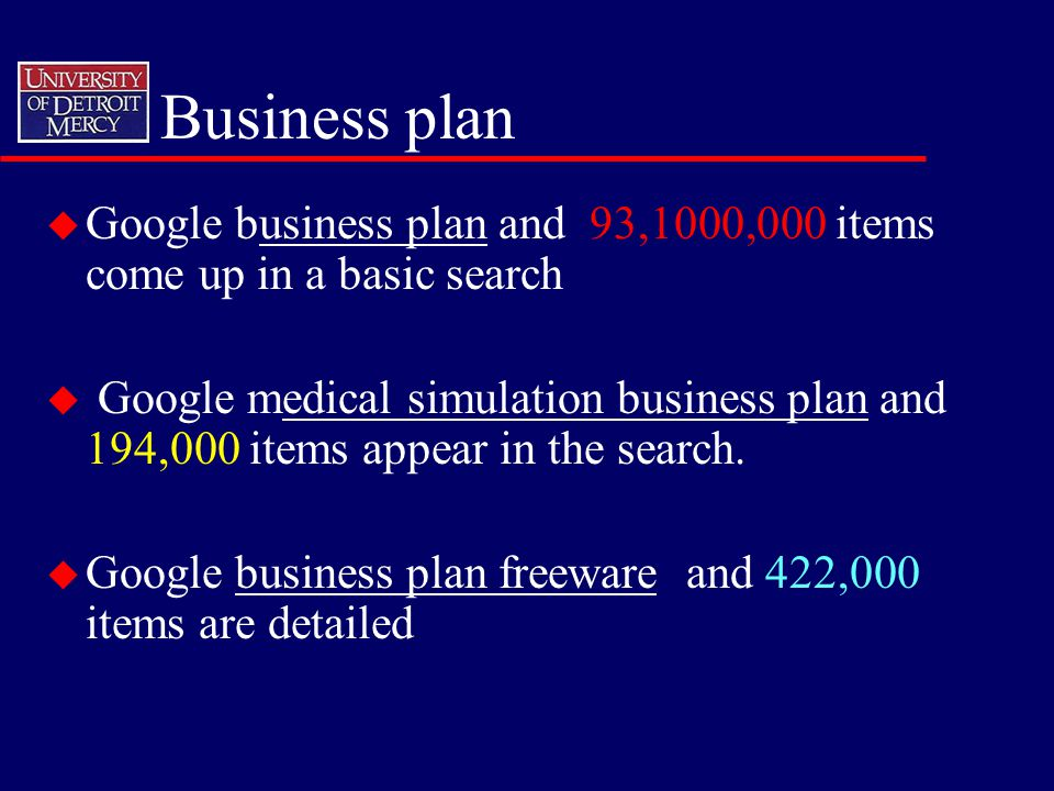 Business plan u Google business plan and 93,1000,000 items come up in a basic search u Google medical simulation business plan and 194,000 items appear in the search.
