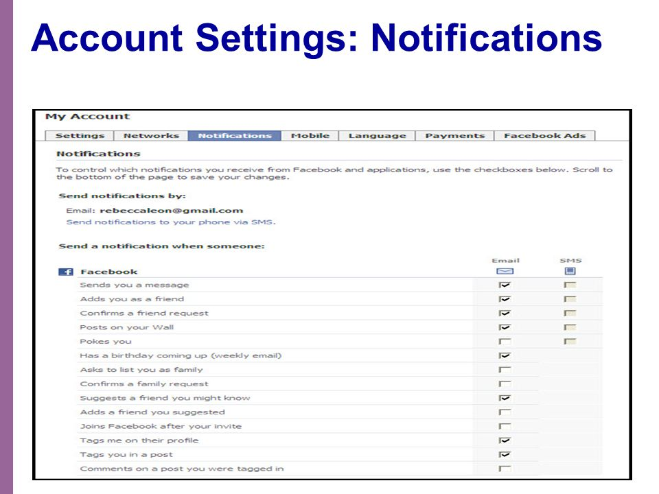 Account Settings: Notifications