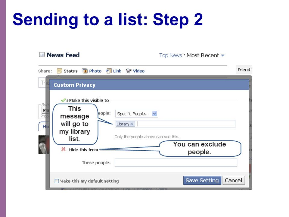 Sending to a list: Step 2