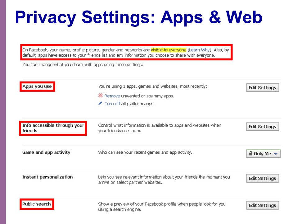 Privacy Settings: Apps & Web