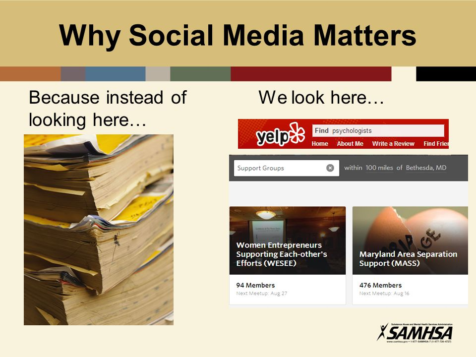 Why Social Media Matters Because instead of looking here… We look here…