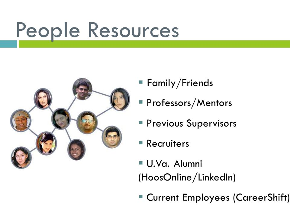 People Resources  Family/Friends  Professors/Mentors  Previous Supervisors  Recruiters  U.Va.