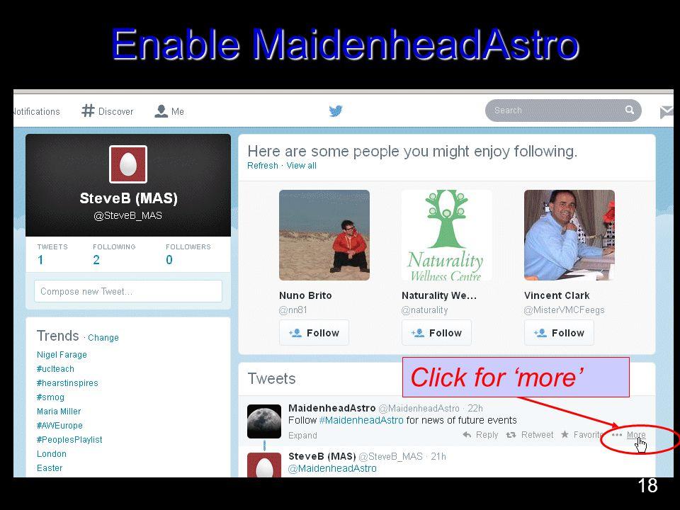 Enable MaidenheadAstro Click for 'more' 18