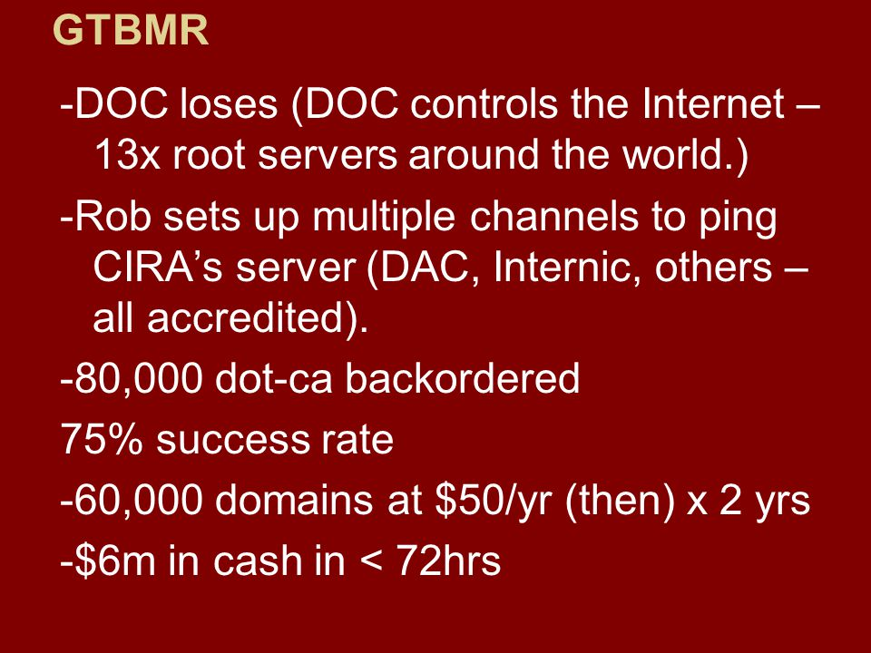 -DOC loses (DOC controls the Internet – 13x root servers around the world.) -Rob sets up multiple channels to ping CIRA's server (DAC, Internic, others – all accredited).