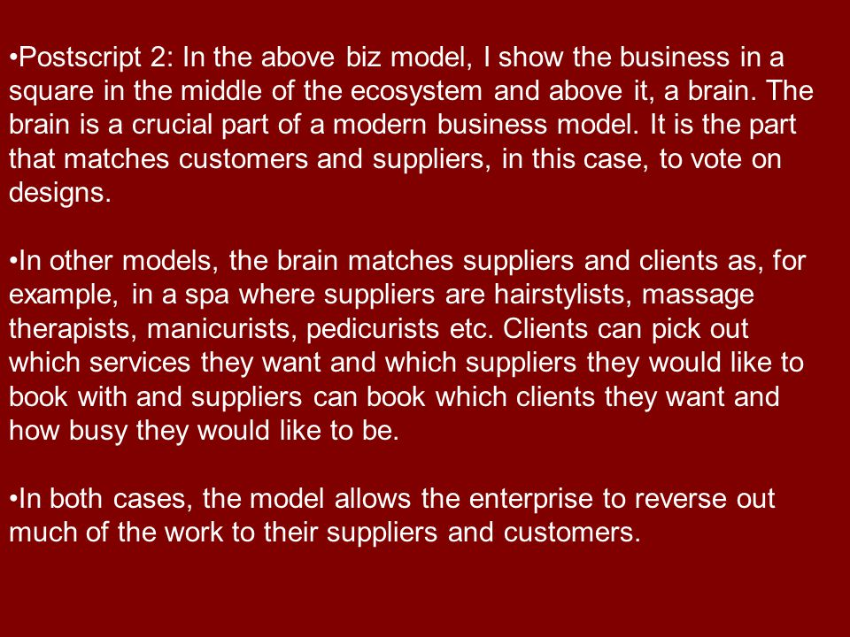 Postscript 2: In the above biz model, I show the business in a square in the middle of the ecosystem and above it, a brain.