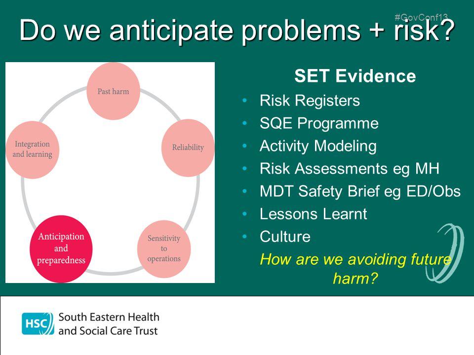 #GovConf13 Do we anticipate problems + risk? SET Evidence Risk Registers SQE Programme Activity Modeling Risk Assessments eg MH MDT Safety Brief eg ED