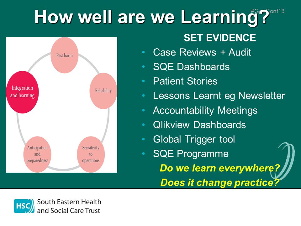 #GovConf13 How well are we Learning? SET EVIDENCE Case Reviews + Audit SQE Dashboards Patient Stories Lessons Learnt eg Newsletter Accountability Meet
