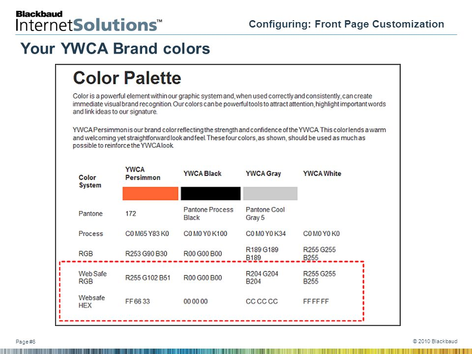 Page #6 © 2010 Blackbaud Configuring: Front Page Customization Your YWCA Brand colors