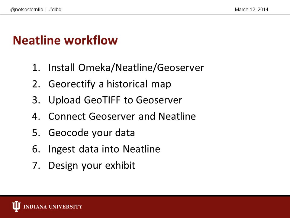 March 12, 2014@notsosternlib | #dlbb Neatline workflow 1.Install Omeka/Neatline/Geoserver 2.Georectify a historical map 3.Upload GeoTIFF to Geoserver 4.Connect Geoserver and Neatline 5.Geocode your data 6.Ingest data into Neatline 7.Design your exhibit